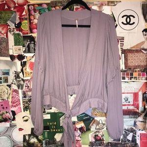 Free People Purple Wrap-Around Blouse Size Large